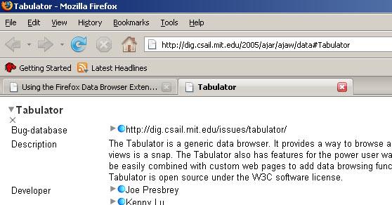 Using the Firefox Tabulator Extension